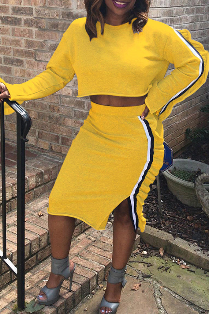Fashion Ruffle Long Sleeve Two Piece Sets - WHATWEARS
