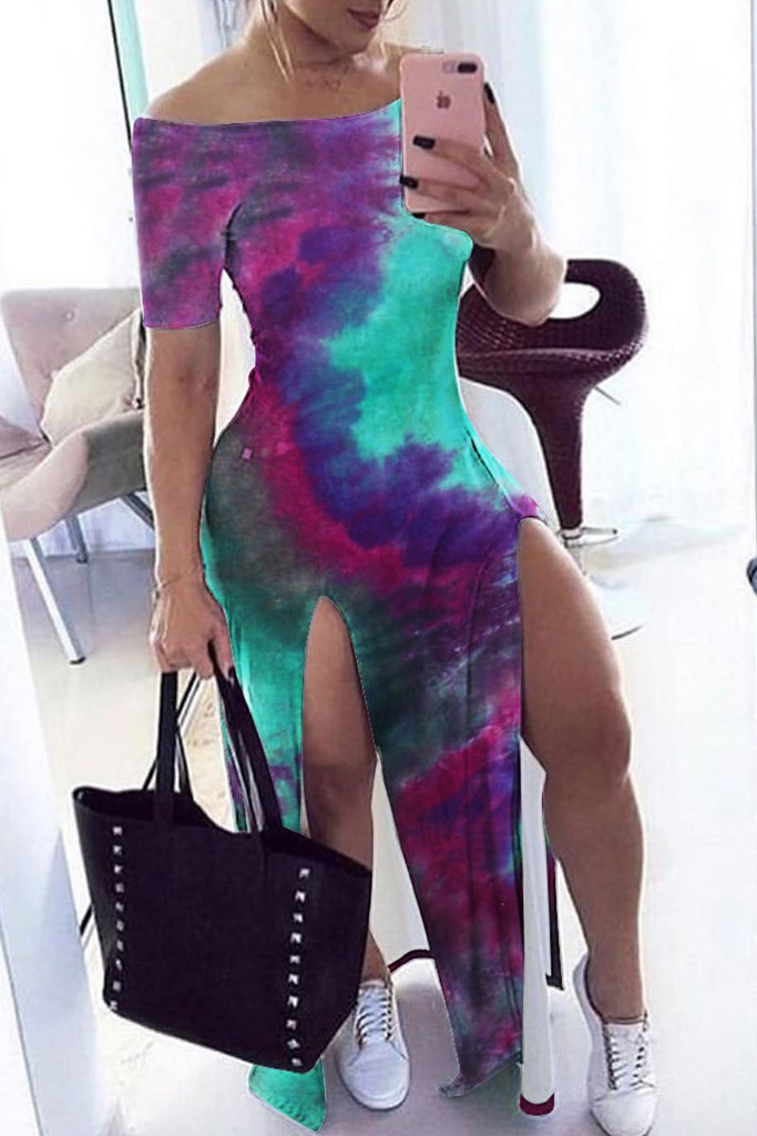 Off The Shoulder Tie Dye High Slit Maxi Dress