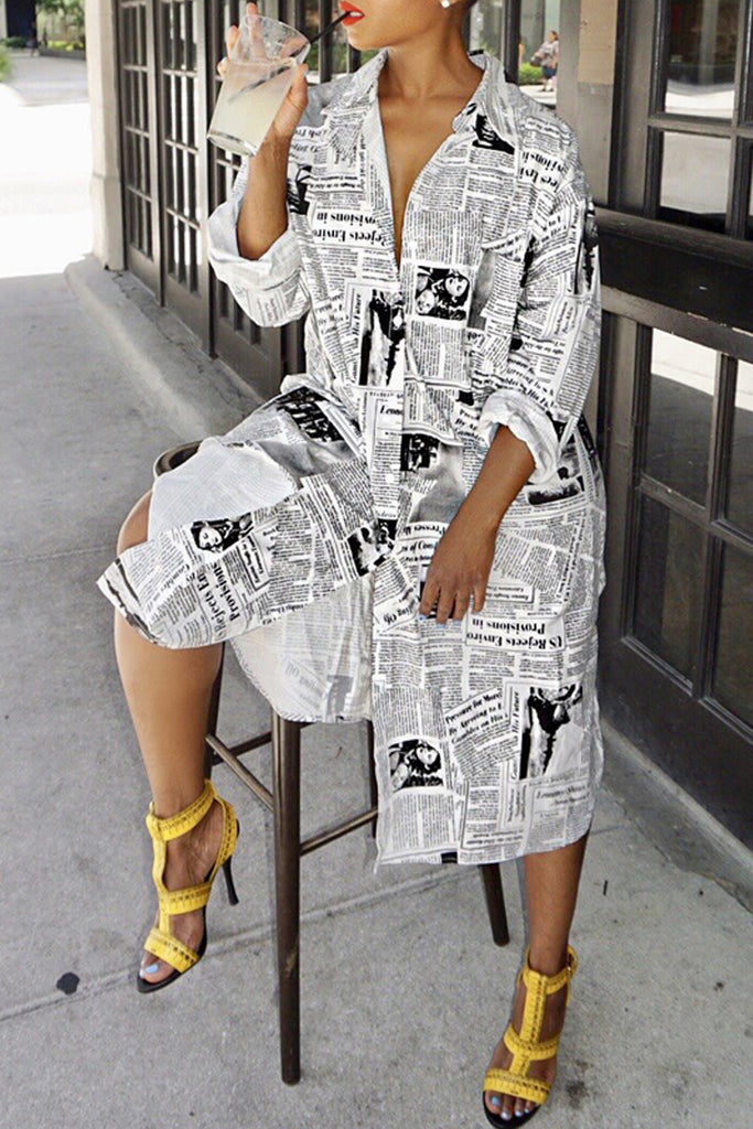 Fashion Print Long Sleeve Casual Shirt Dress - WHATWEARS