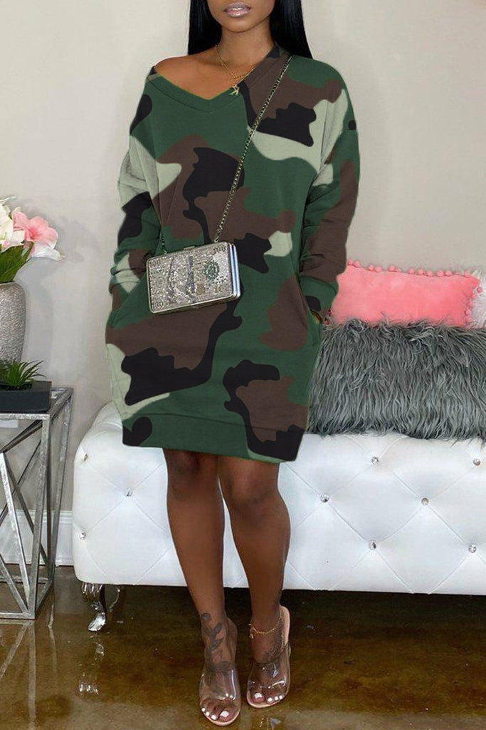 Camouflage Printed V-neck Pocket Mini Dress