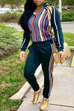 Fashion Casual Stripe Print Hooded Collar Two Piece Outfits