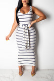Striped Round Neck Dress With Head Scarf