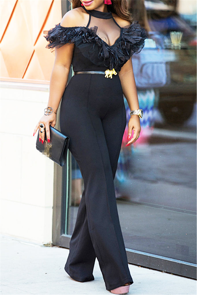 Sheer Panel Ruffle Jumpsuit