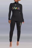 High Neck Embroidered Letter Long Sleeve Top & Pants