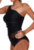 Strapped Net Yarn Splicing One shoulder One Piece Swimwear