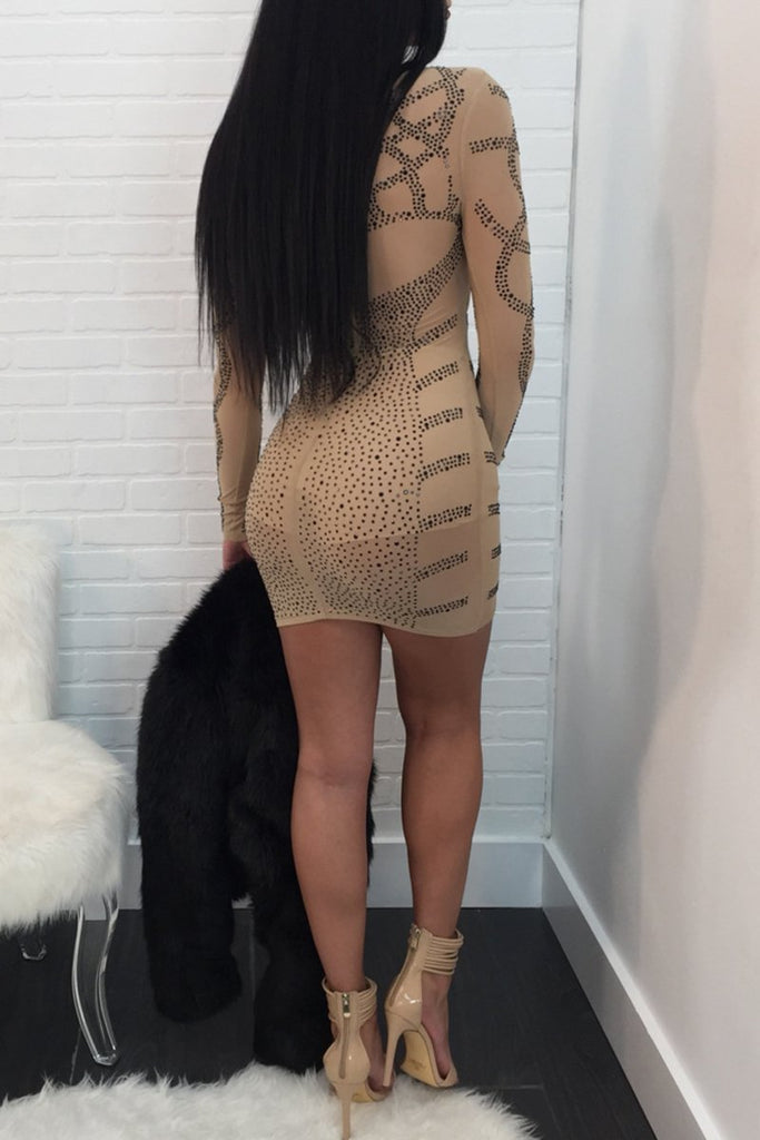 Hot Drilling High Neck See-through Mini Dress