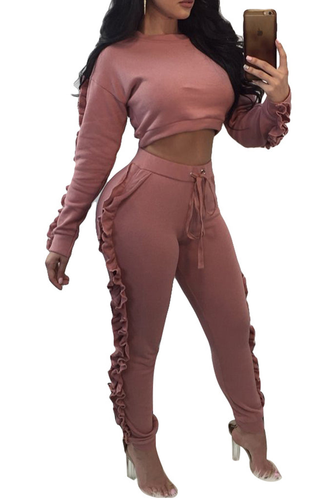 Fungus Edge Long Sleeve Solid Color Two Piece Sets