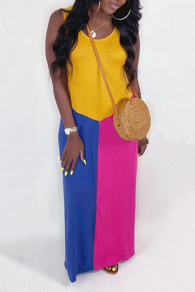 Patchwork Sleeveless Solid Maxi Dress