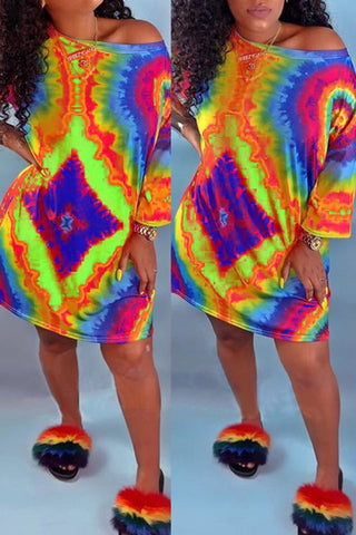Plus Size V-neck Off the Shoulder Bandage Printed Two Piece Sets