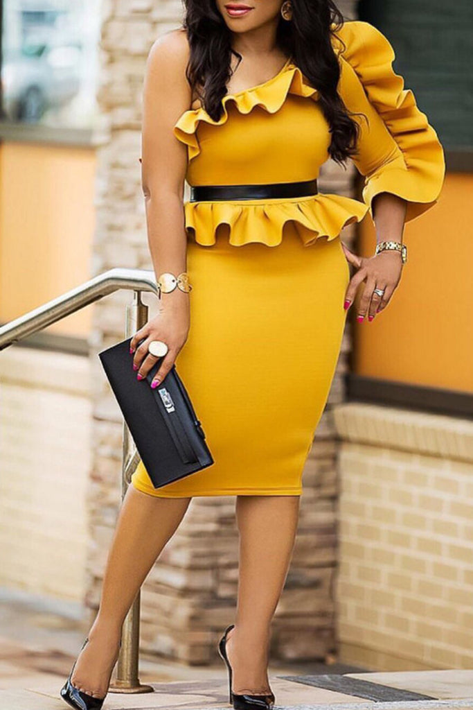 Ruffled Solid Color Off One Shoulder Midi Dress
