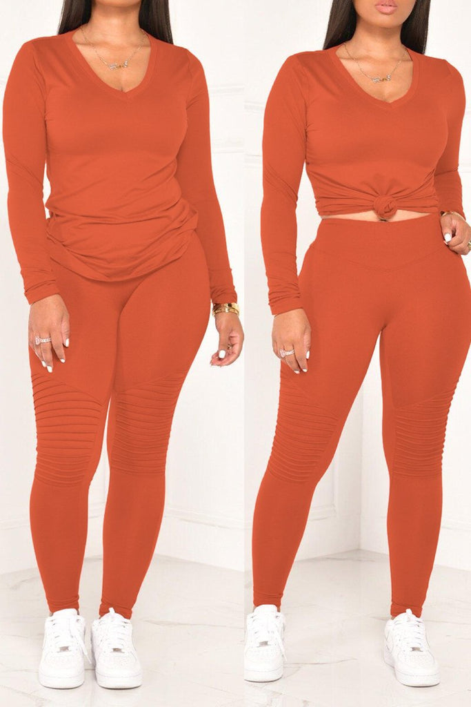 V-Neck Solid Color Long Sleeve Top & Pants