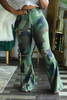 Flared Hole Distressed Plus Size Camouflage Pants