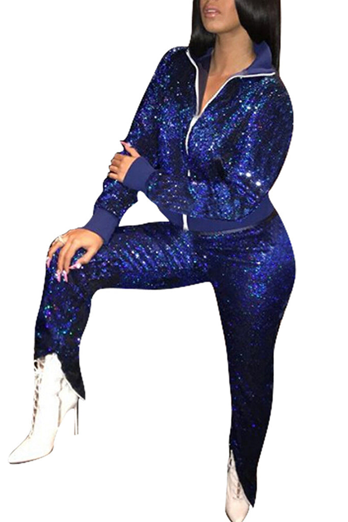Turndown Collar Sequined Zipper Up Party Two Piece Outfits