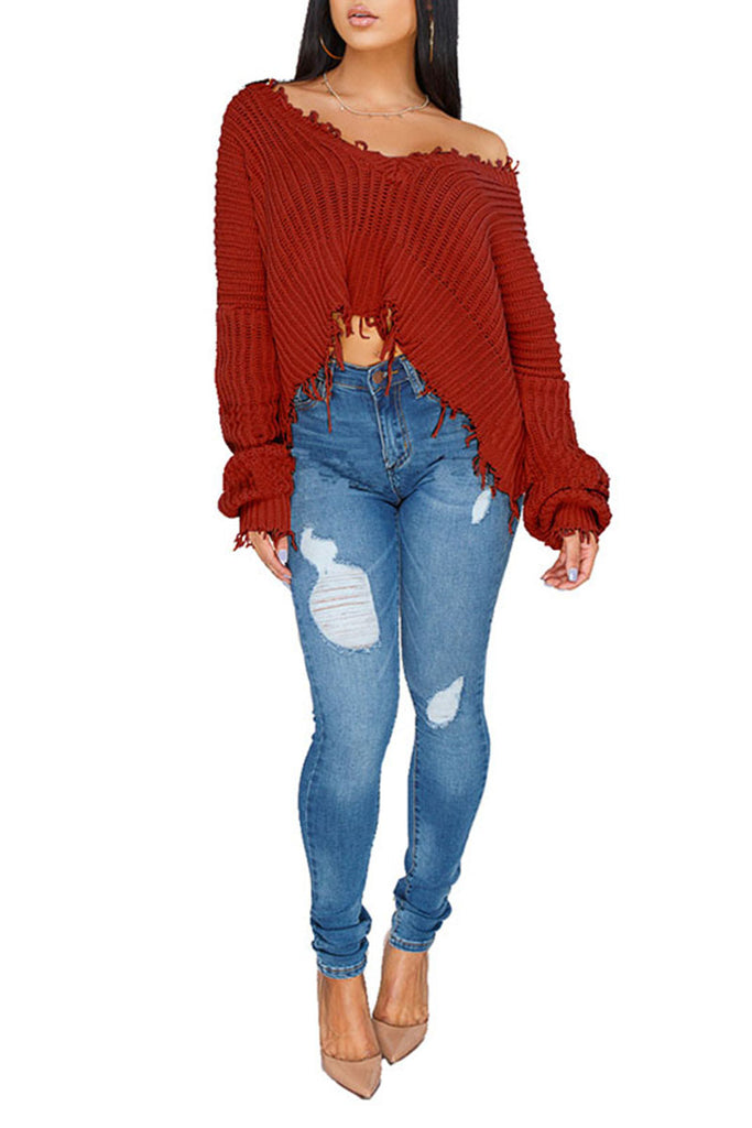 Edge Distressed Solid Color Off One Shoulder Fashion Sweater - WHATWEARS