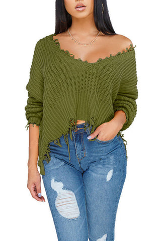 Skew Neck Long Sleeve Patchwork Casual Top