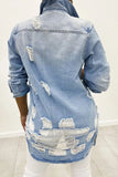 Hole Distressed Denim Button Jacket