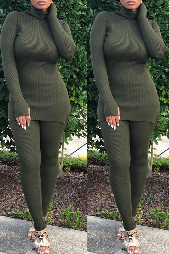 Solid Color High Neck Casual Two Piece Sets