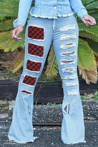 Plus Size Lattice Patchwork Denim Flared Pants, whatwears  - buy with discount