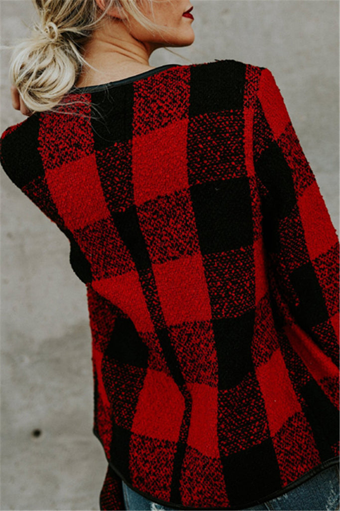 Long Sleeve Plaid Turn-down Collar Coat