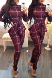 Fashion Casual Plaid Print Jumpsuit With Belt - WHATWEARS