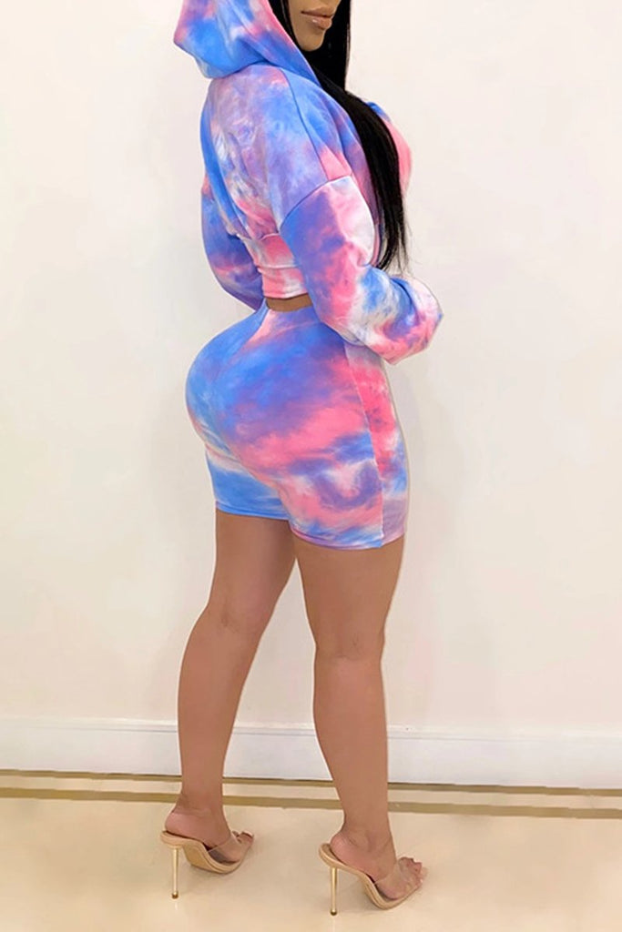 Hooded Collar Plus Size Tie Dye Top & Shorts