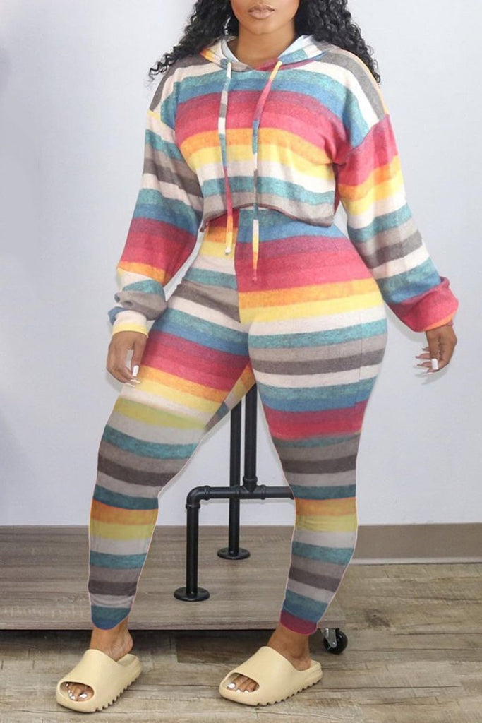 Hooded Rainbow Striped Colorful Two Piece Sets