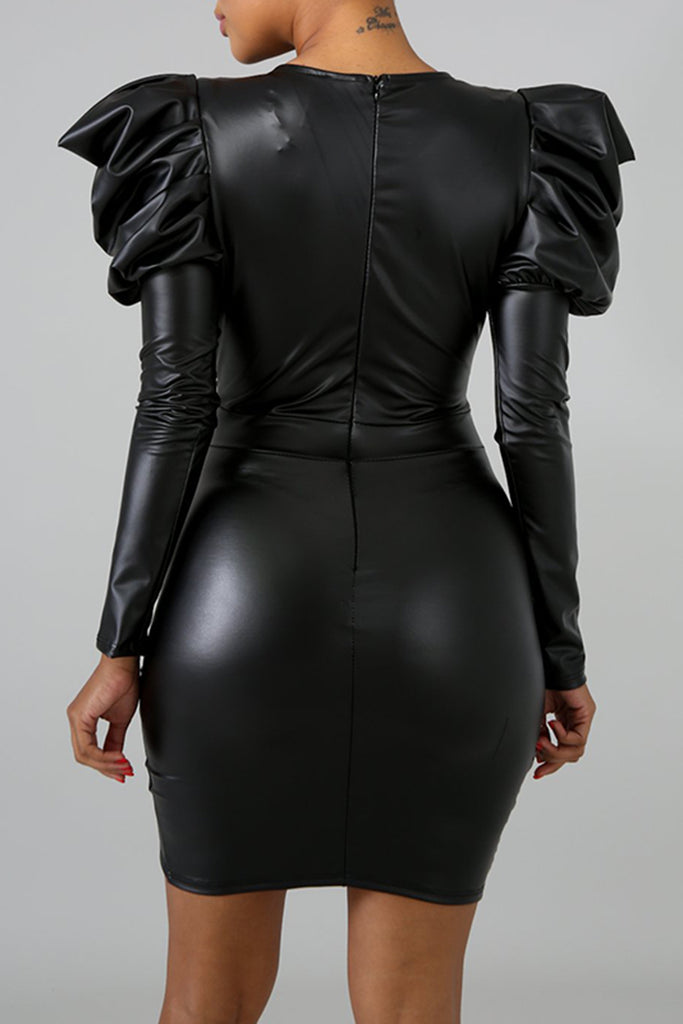 PU Leather Ruffle Long Sleeve V-neck Sexy Wrap Dress