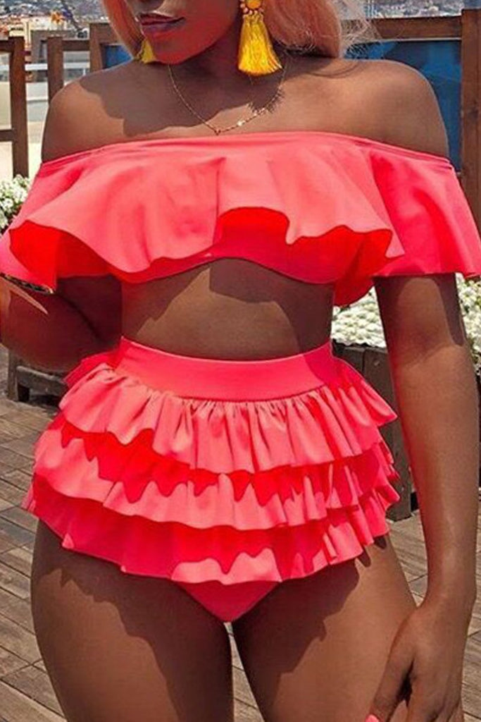 Solid Flounced Off The Shoulder Sexy Two Piece Swimwear
