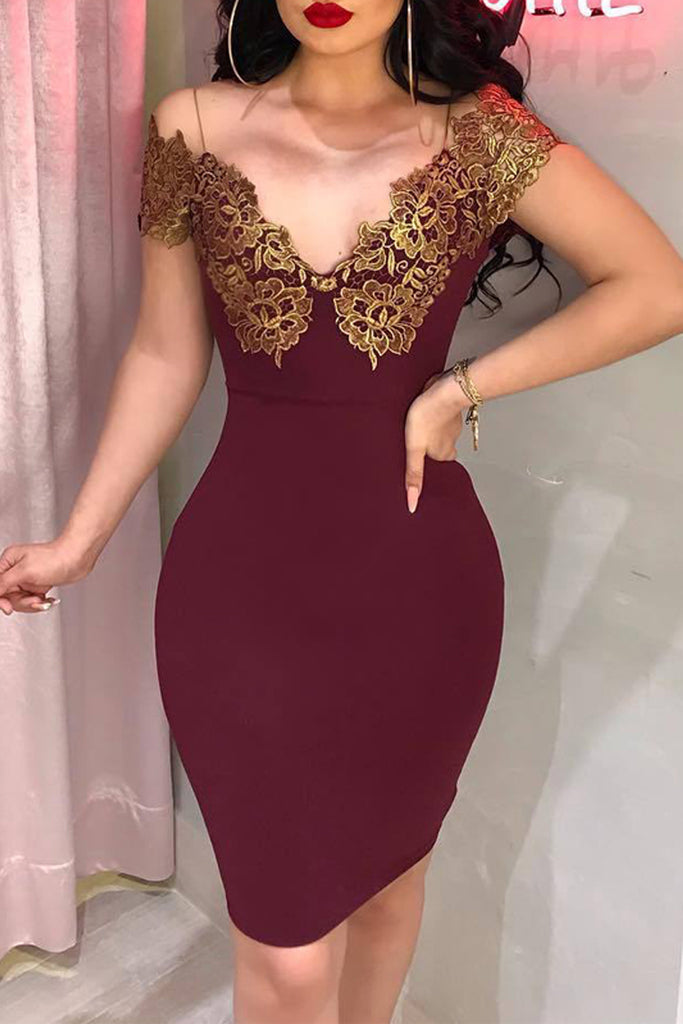 Sexy Embroidered Sleeveless Deep V-neck Midi Dress