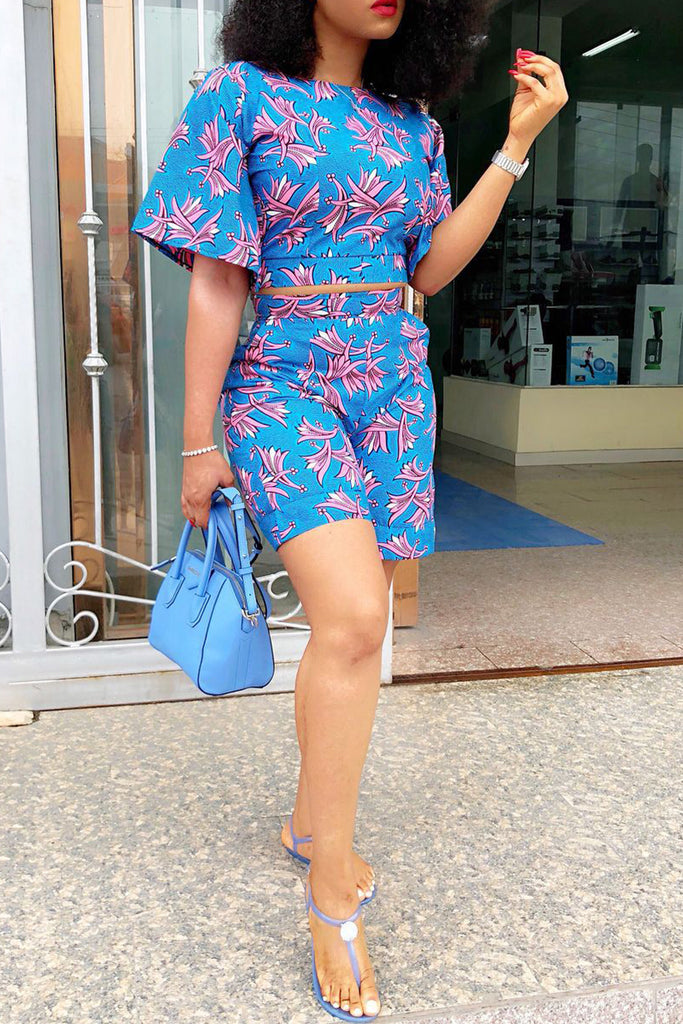 Short Sleeve Printed Casual Two Piece Sets