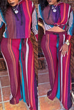 Rainbow Striped Hooded Long Sleeve Two Piece Outfits