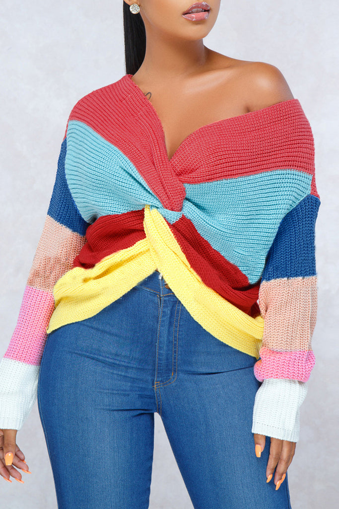 Color Block Back Knotted Round Neck Long Sleeve Sweater - WHATWEARS