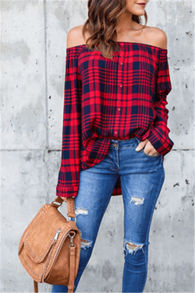 Red Lattice Off the Shoulder Loose Shirt