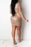 Cutout Sequins Deep V-Neck Club Dress