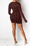 Drawstring Digital Print Long Sleeve Mini Dress