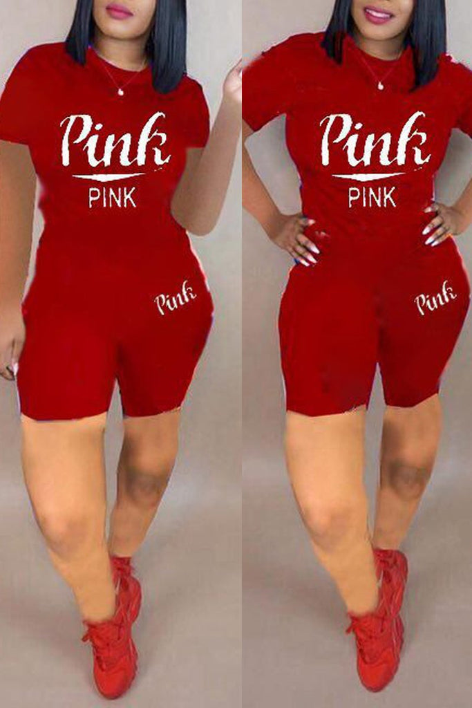 Round Neck Letter Print Plus Size Top & Shorts