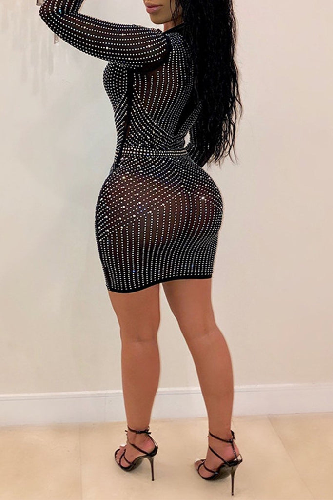 Hot Drilling Bandage See-through Mini Dress