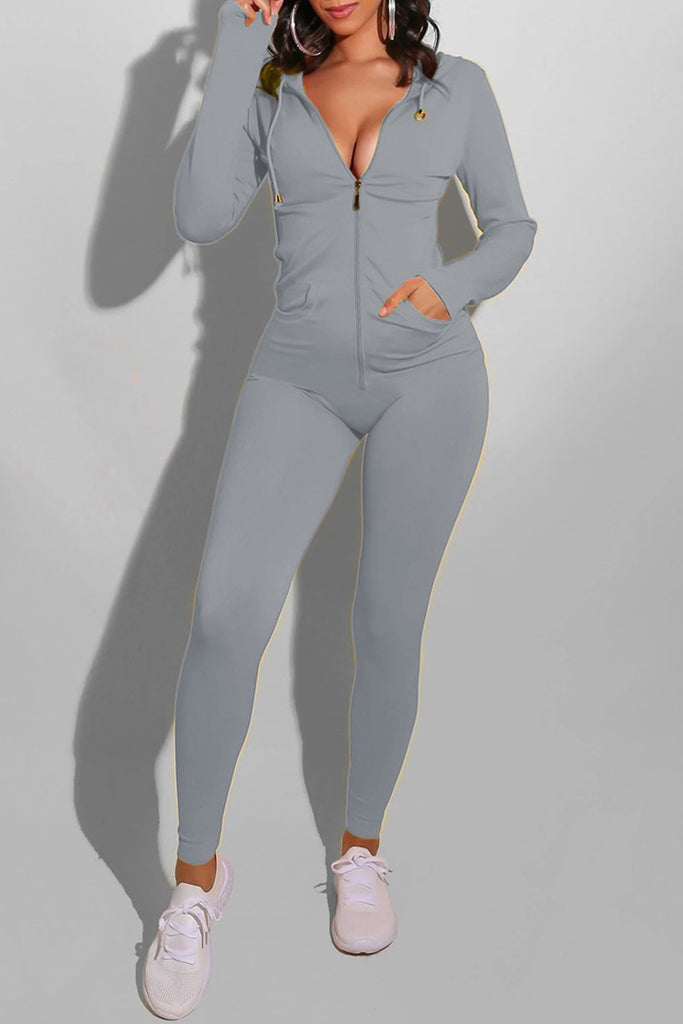 Hooded Collar Zipper Up Solid Jumpsuit