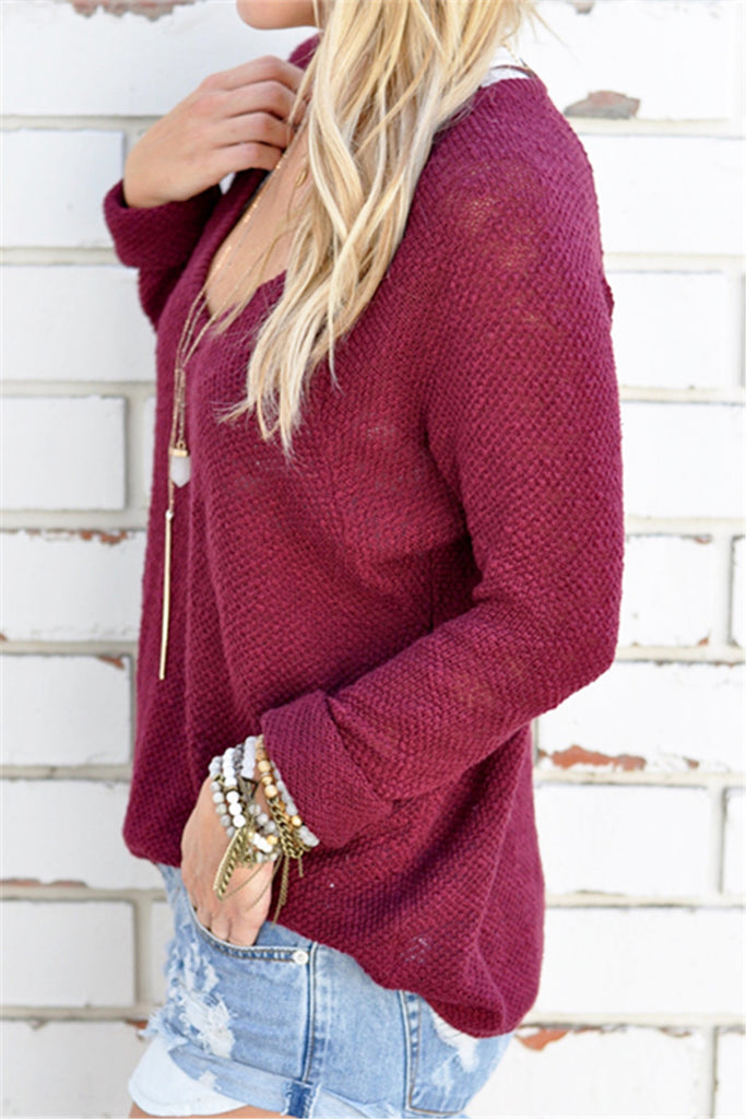 Wide Neck Loose Knit Sweater
