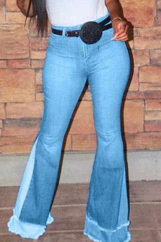 Whatwears coupon: High Waist Patchwork Flared Jeans Without Belt