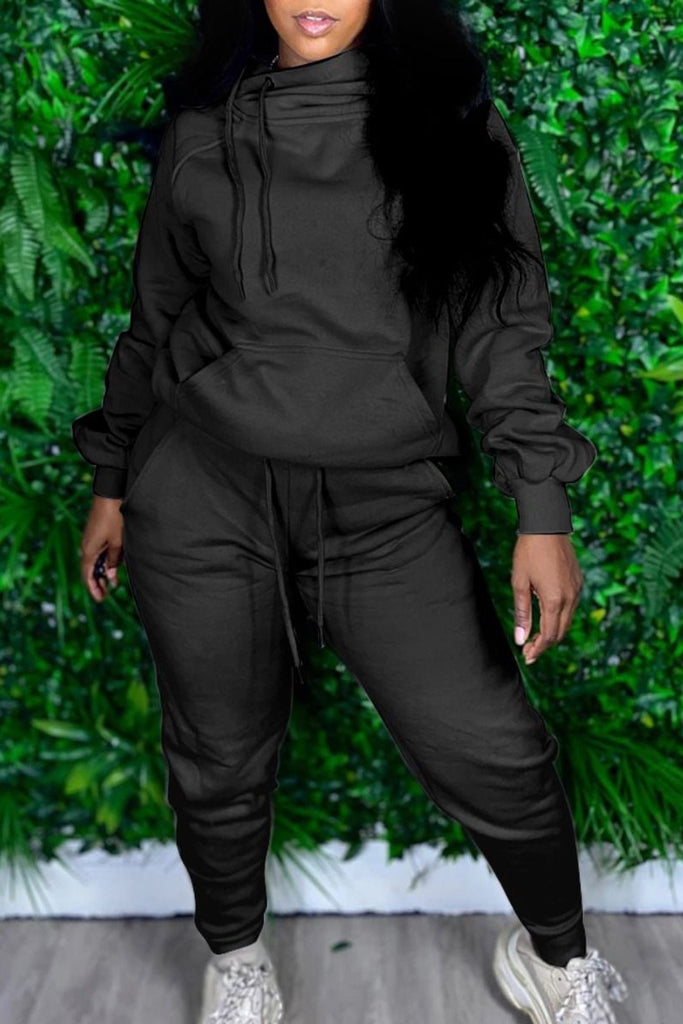 Hooded Collar Solid Drawstring Waist Top & Pants