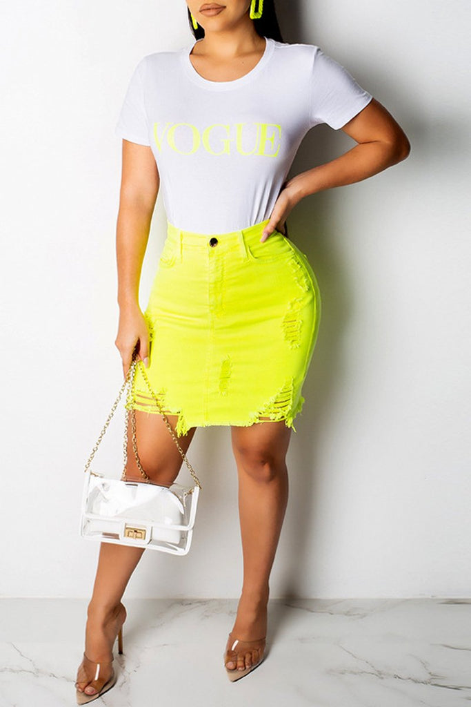 Solid Color High Waist Frayed Denim Mini Skirt