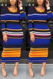Rainbow Striped Bodycon Long Sleeve Dress
