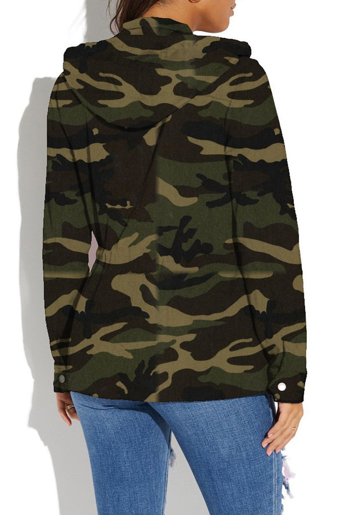 Hooded Collar Camouflage Print Zipper Jacket