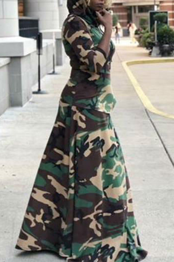 Camouflage Print Hooded Collar Pocket Maxi Dress - WHATWEARS