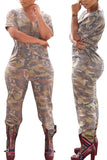 Short Sleeve Camouflage Printed Casual Jumpsuit