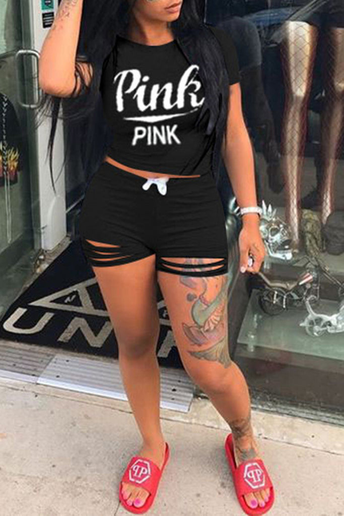 Slash Letter Printed Bandage Short Sleeve Top & Shorts