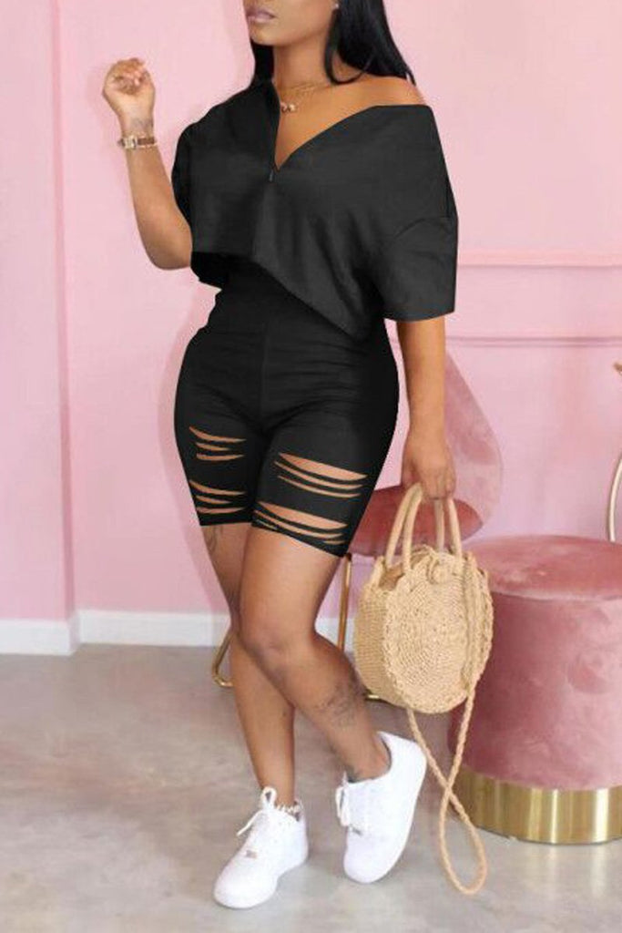 Distressed Plus Size Zipper Collar Top & Shorts