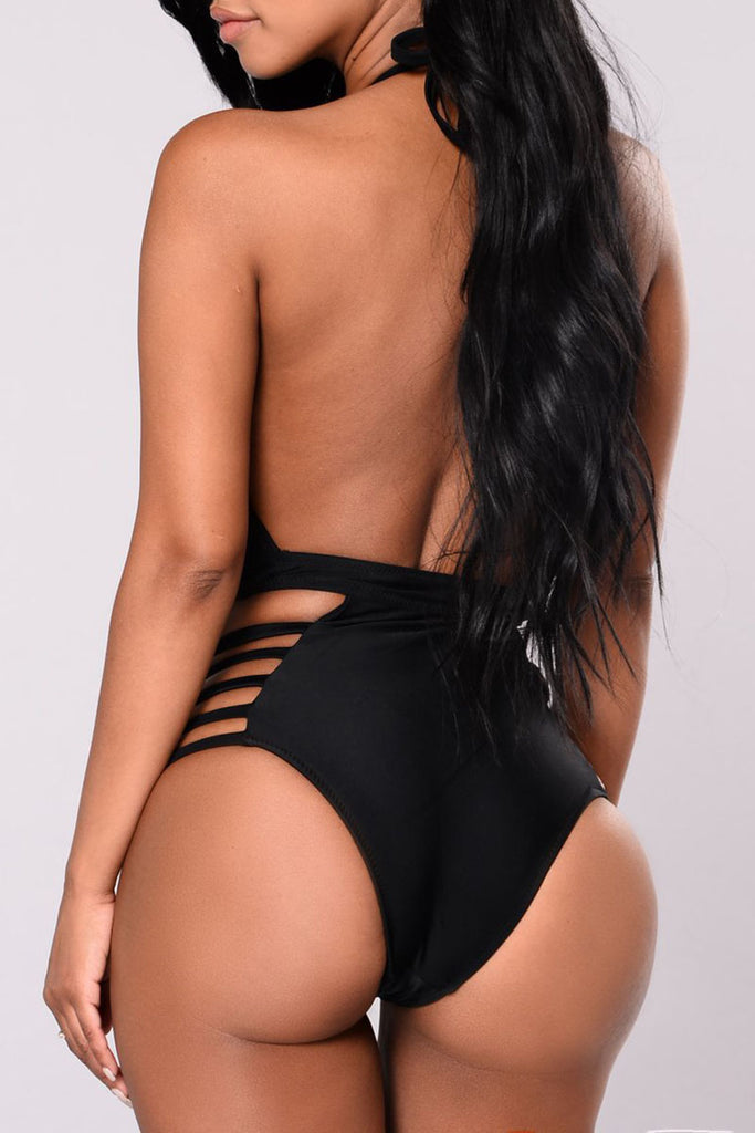 Solid Color Bandage One Piece Swimwear