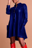 Leather Button Pocket Casual Long Sleeve PU Skater Dress